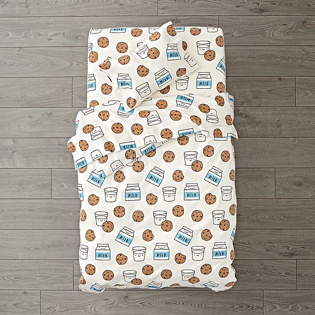 Organic Milk and Cookies Flannel Toddler Bedding