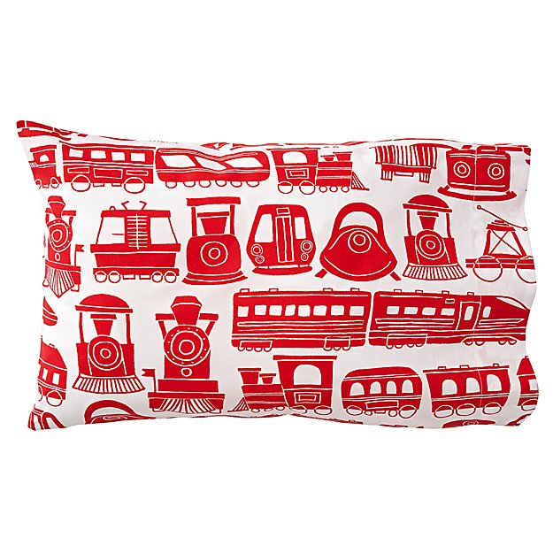 Organic All Aboard Red Train Toddler Pillowcase