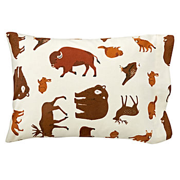 Organic Animal Flannel Toddler Pillowcase