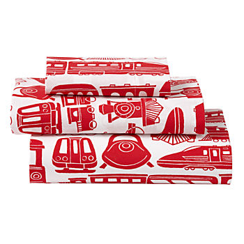 Organic All Aboard Red Train Toddler Sheet Set