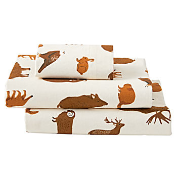 Organic Animal Flannel Toddler Sheet Set