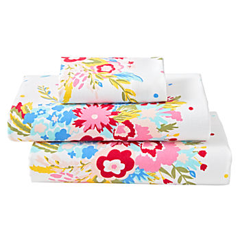 Floral Flannel Toddler Sheet Set