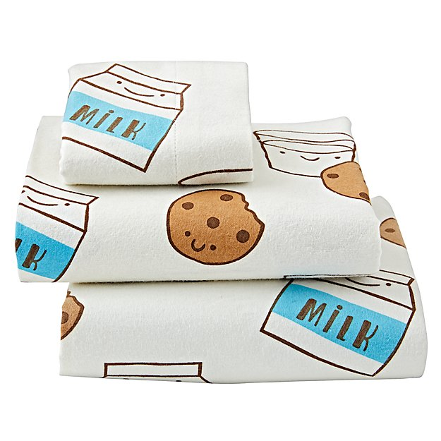 Organic Milk and Cookies Flannel Toddler Sheet Set