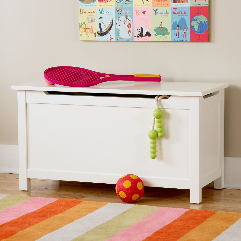 Kids Toy Chests Kids Solid White Toy Box The Land Of Nod