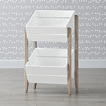 Wrightwood Grey Stain & White Toy Storage Crates