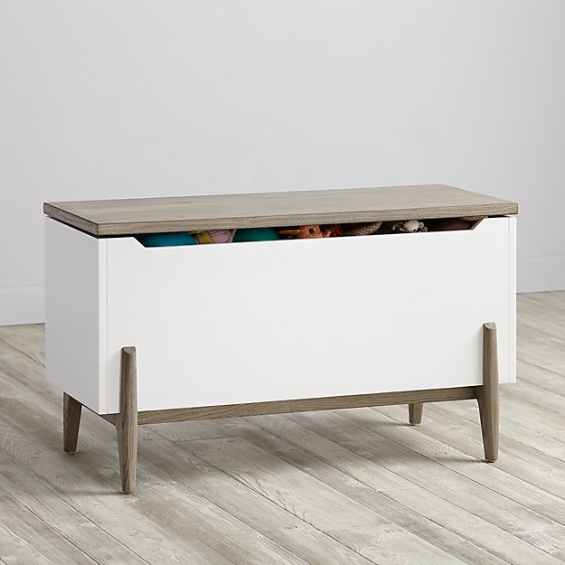 Wrightwood Grey Stain and White Toy Box