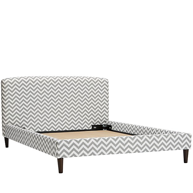 Queen Upholstered Bed (Zig Zag Ash)