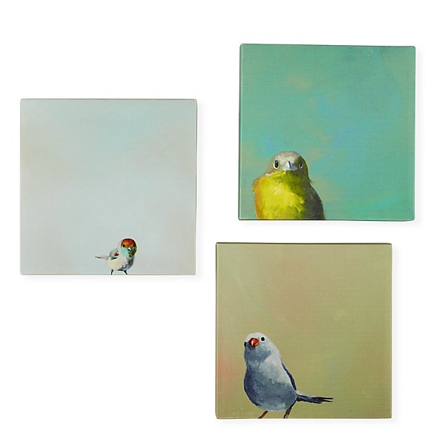 Little Birdies Canvas Wall Art (Set of 3)