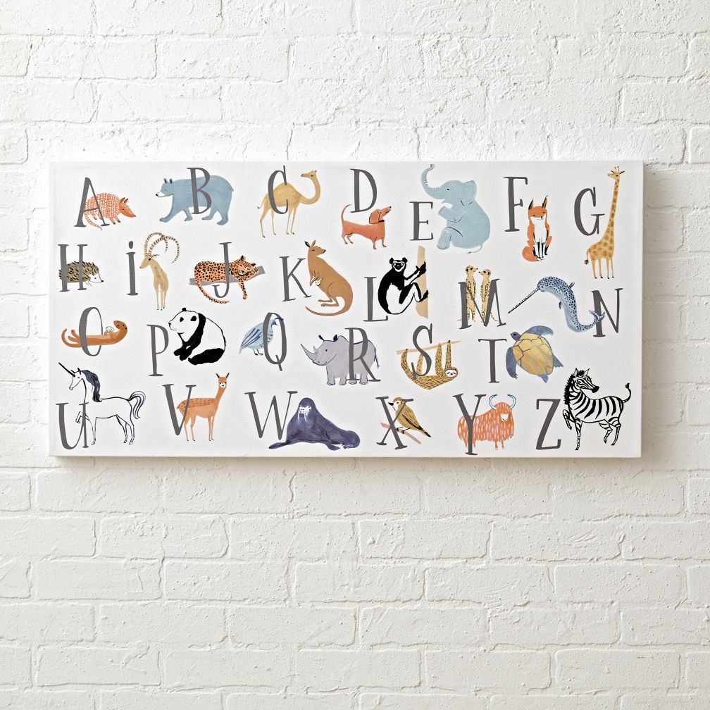 Animal alphabet wall art for a nursery the land of nod for Letter wall art