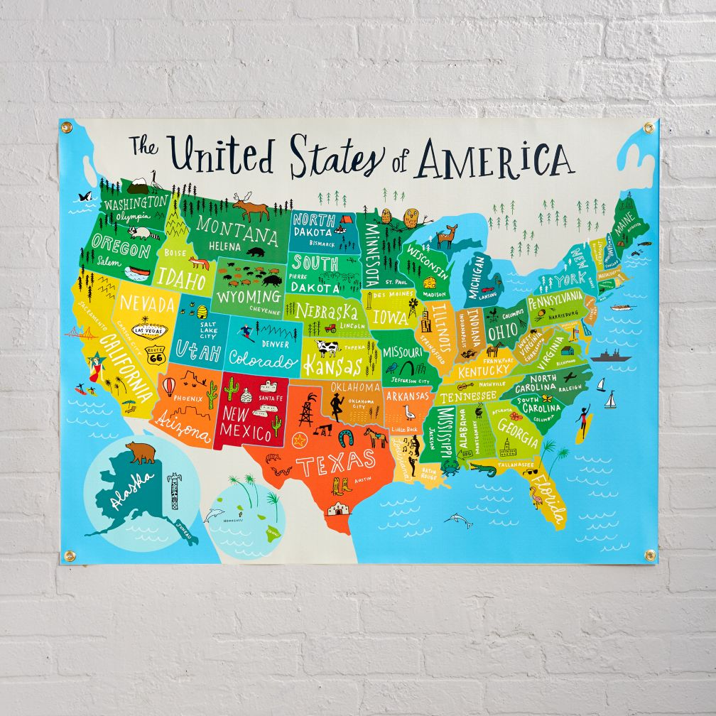 United States Of America Banner The Land Of Nod - Us wall map for kids