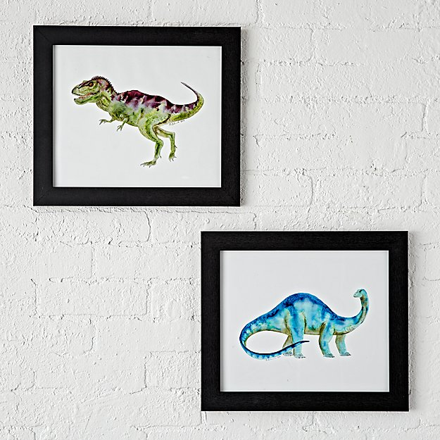 Wall Art Set Of 2 dinosaur framed wall art (set of 2) | the land of nod