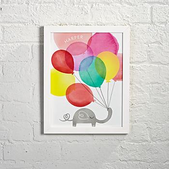 Personalized Framed Elephant Balloons Wall Art