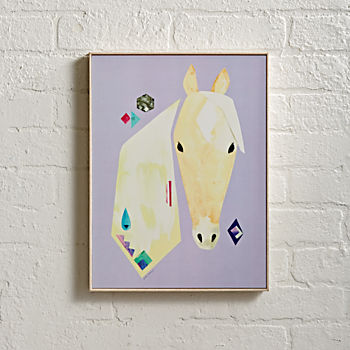 Framed Palomino White Horse Wall Art