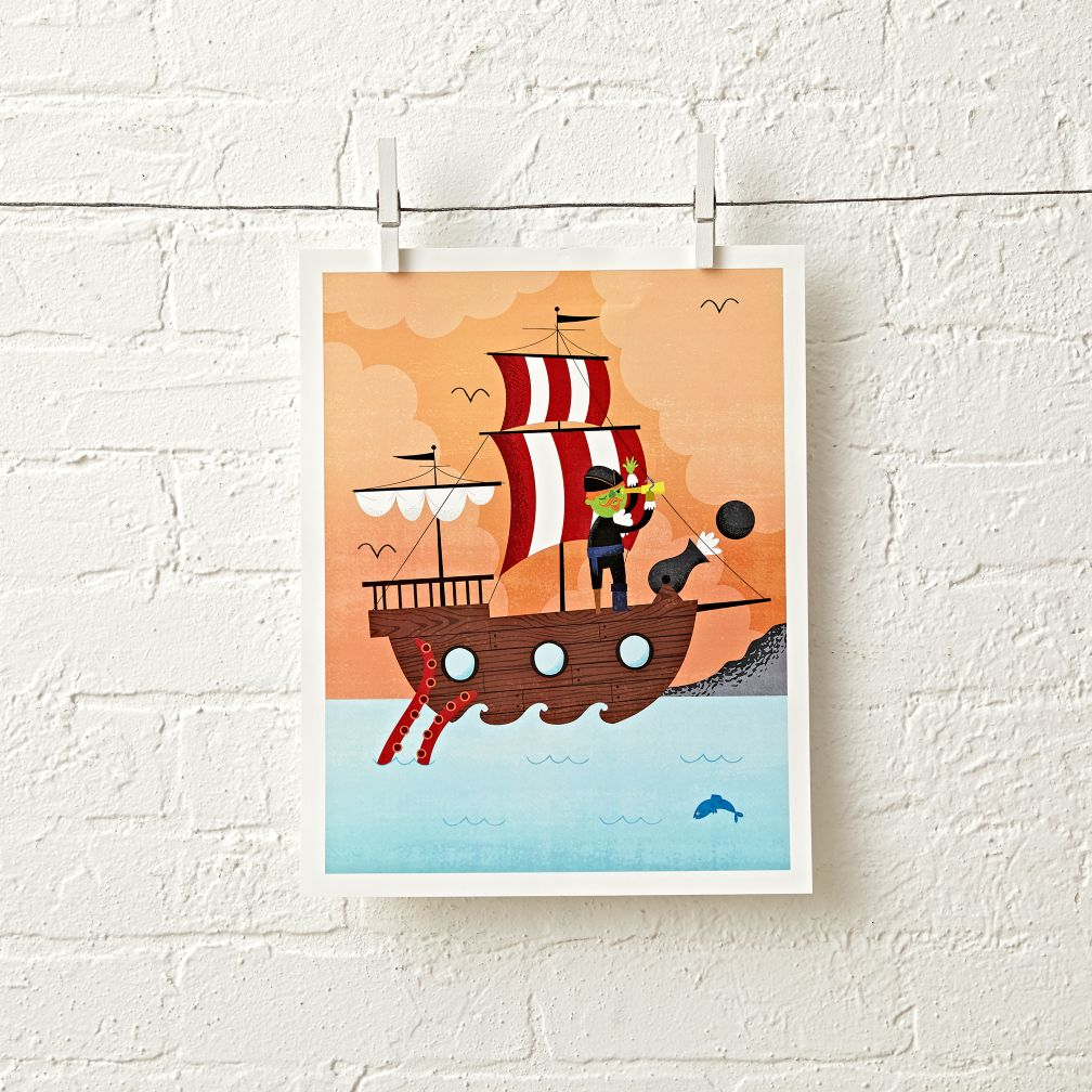 Orange Pirate Unframed Wall Art