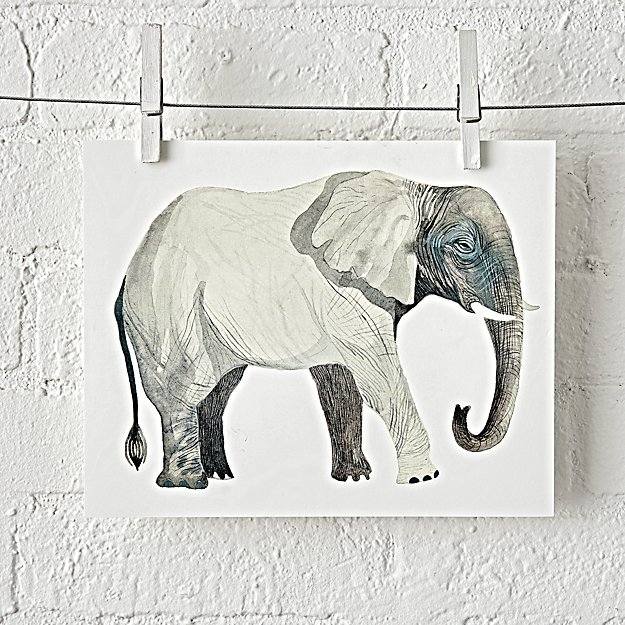 Elephant Safari Unframed Wall Art