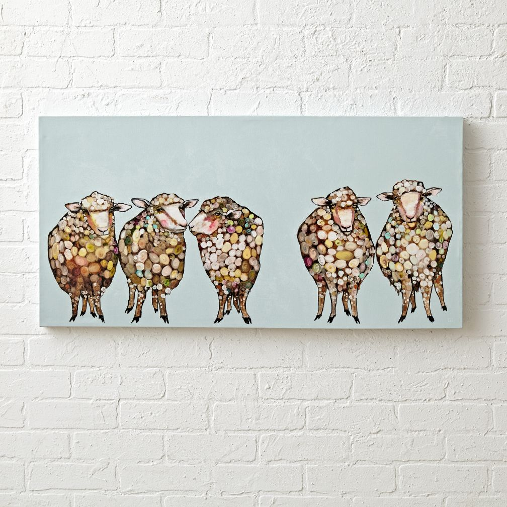 Five Woolly Sheep Wall Art