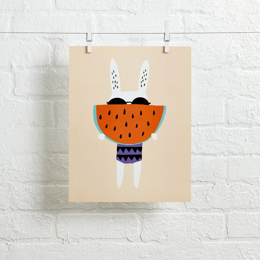 Rabbit Wall Art (Watermelon)