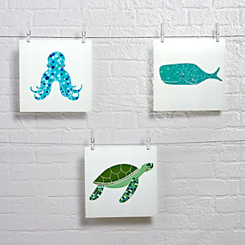 Set of 3 Unframed Under the Sea Wall Art