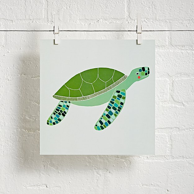 Sea Turtle Wall Art turtle unframed under the sea wall art | the land of nod