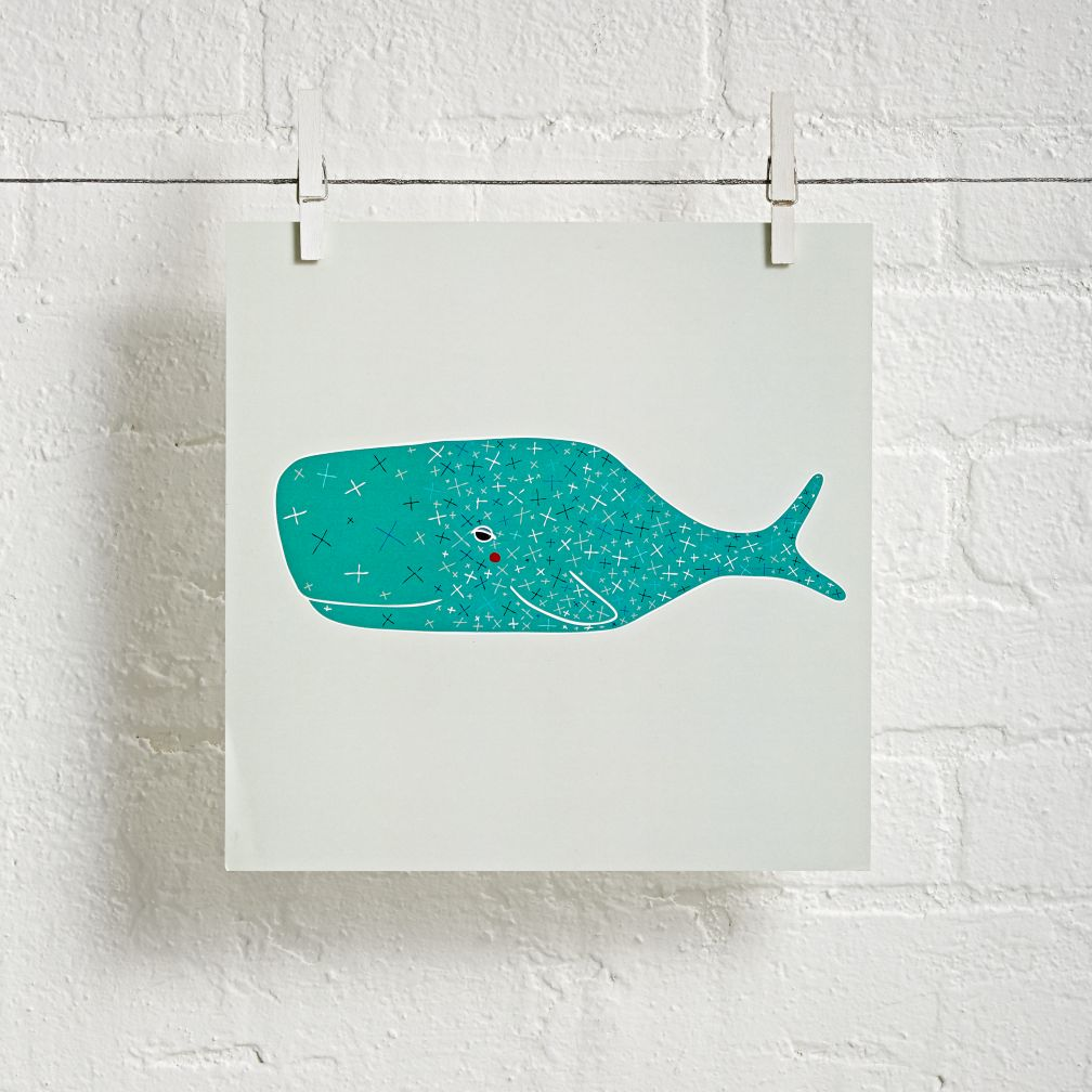 Whale Unframed Under the Sea Wall Art