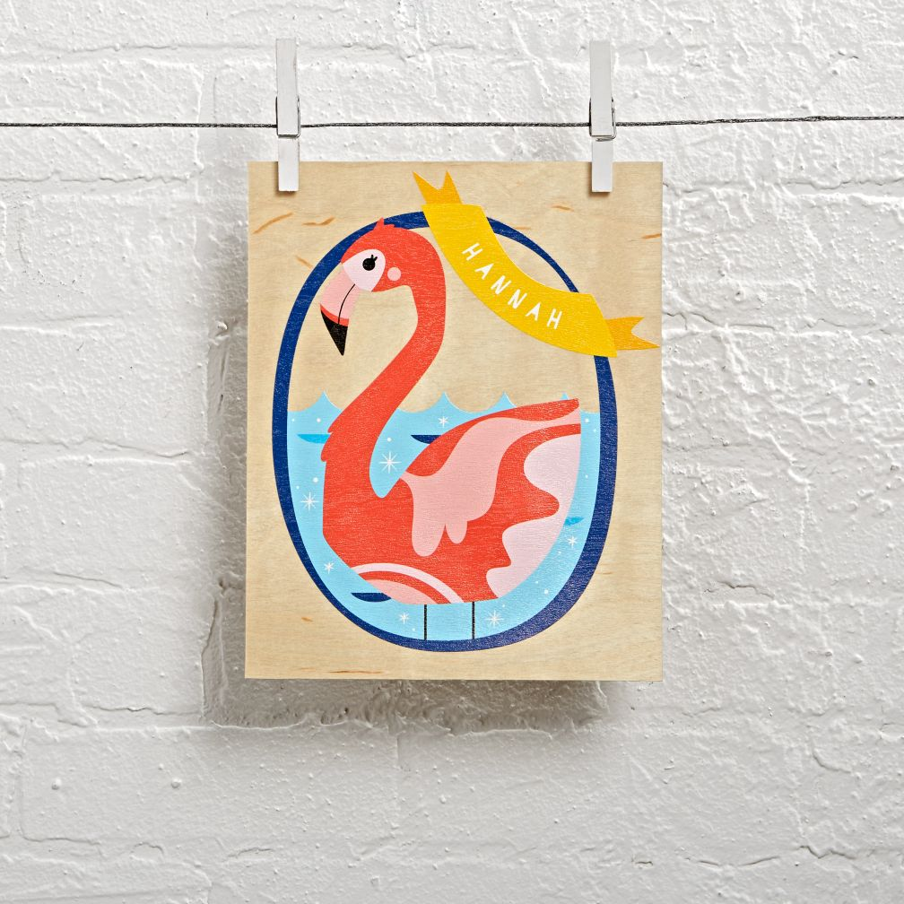 Wood Veneer Personalized Flamingo Wall Art