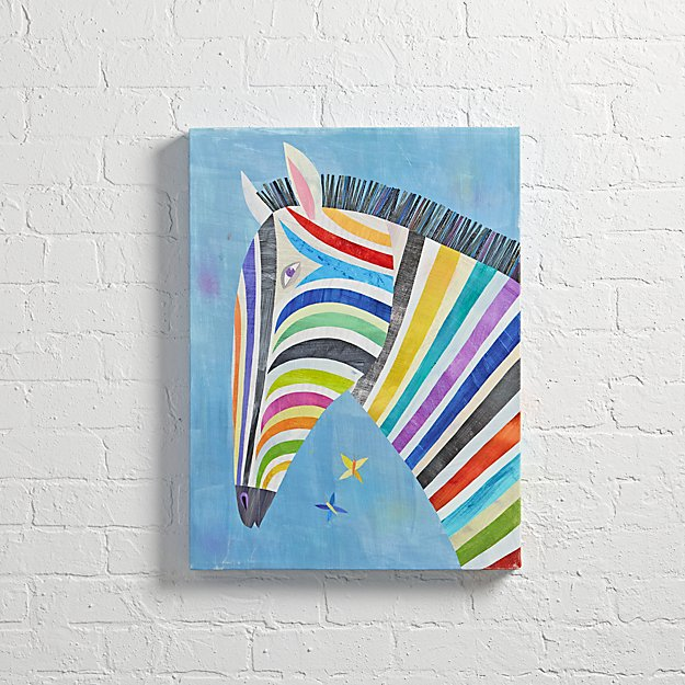 Zebra Wall Art zebra colorful wall art | the land of nod