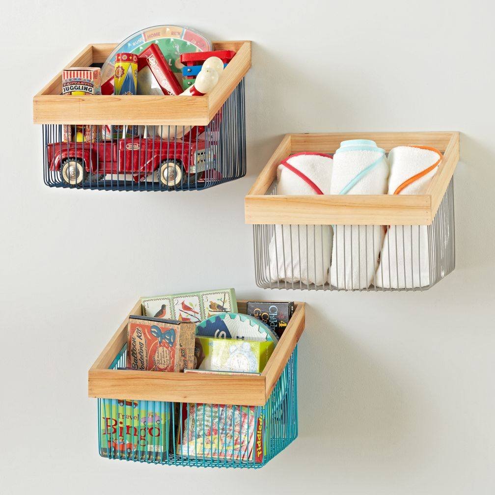 Kids shelves wall cubbies the land of nod wood and wire wall bin amipublicfo Images