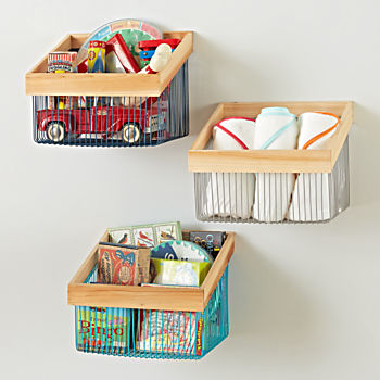 Wood And Wire Wall Bin