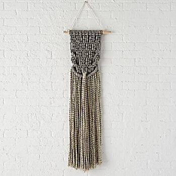 Grey Macrame Wall Weaving