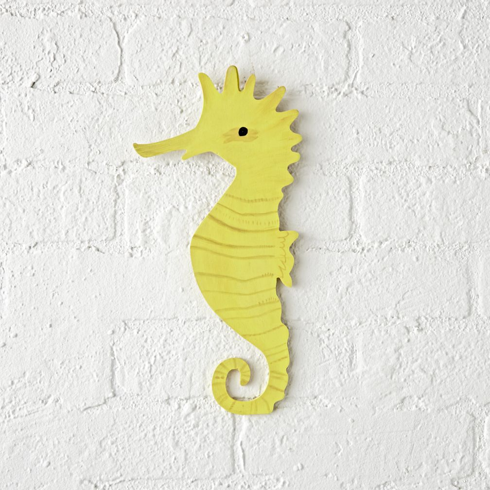 wooden seahorse wall decor the land of nod. Black Bedroom Furniture Sets. Home Design Ideas