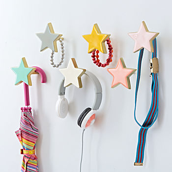 Kids wall hooks coat hooks the land of nod for Kids room hooks