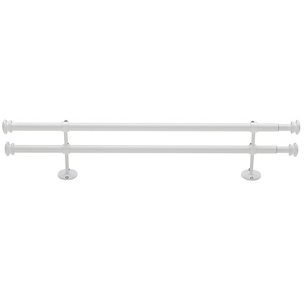 "28-48"" Button Cap Double Rod (White)"