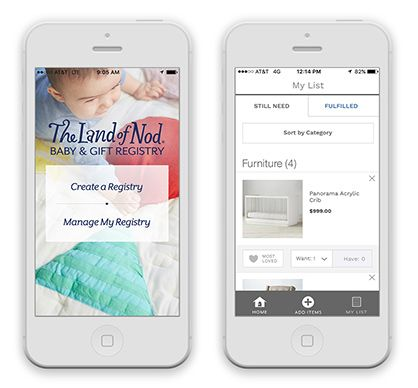 Two iPhones with screenshots of the nod baby registry app.