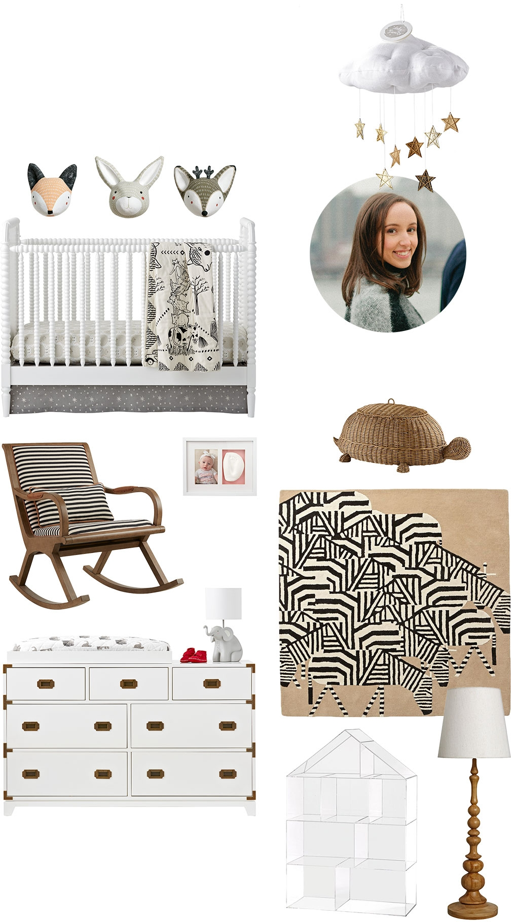 Compilation of product images that Living Editor Virginia Van Zanten at Vogue Magazine chose for her baby registry.