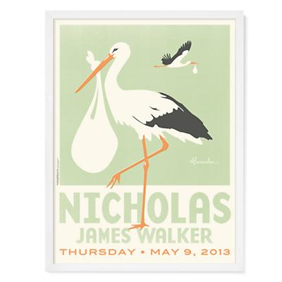 Stork Delivery Personalized Wall Art (Green with White Frame)